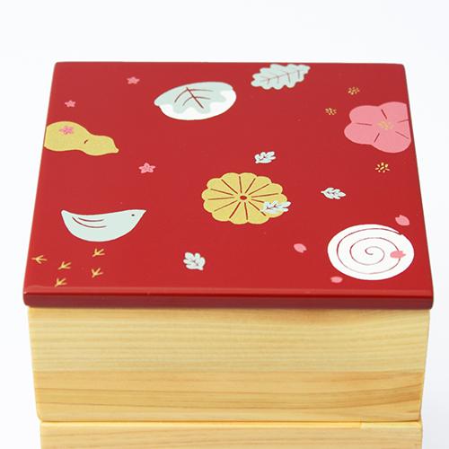 Njeco汎和菓子蒔絵ミニ三段重箱(赤)
