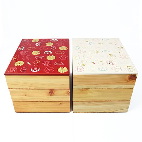 Njeco汎和菓子蒔絵三段重箱(白)