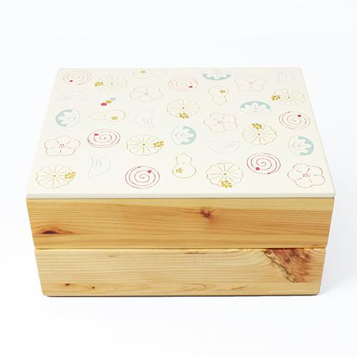 Njeco汎和菓子蒔絵二段重箱(白)