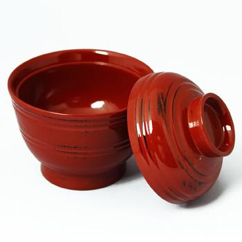 根来塗木製くりぬき筋目小吸物椀