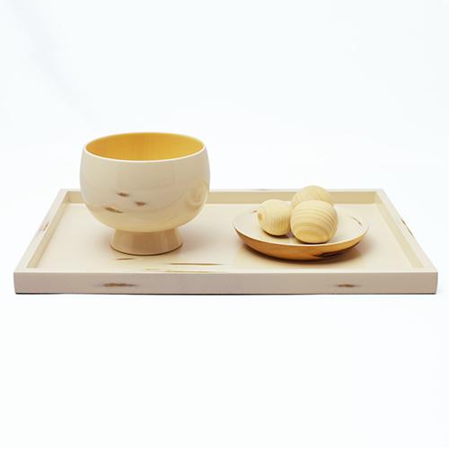 長角盆(変根来-白)