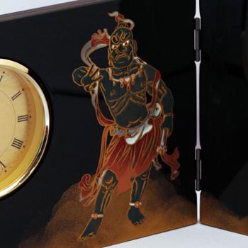 阿吽蒔絵屏風時計