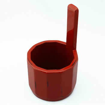 根来塗十二角手桶花器