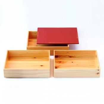 Njeco汎三段重箱(変根来-赤)