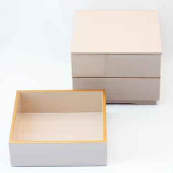 縁金三段重箱(オフホワイト)