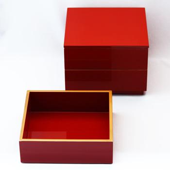 縁金三段重箱(洗朱)