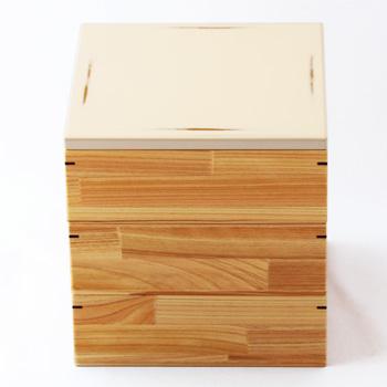 Njeco汎6寸三段重箱無節(変根来-白)
