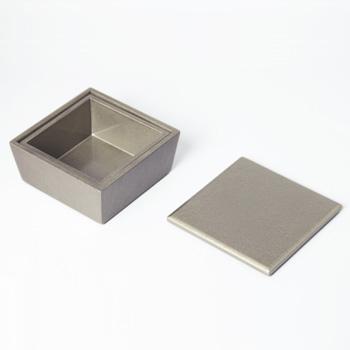 台形ミニ入子二段重箱(シルバー)