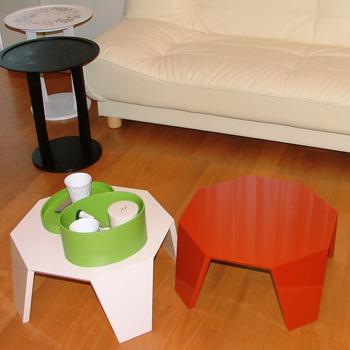 八角ソファーテーブル(洗朱)