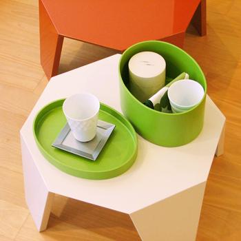 八角ソファーテーブル(オフホワイト)