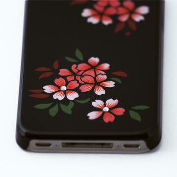 蒔絵for iPhone4/4S専用ケース 黒(スワロフスキー桜)
