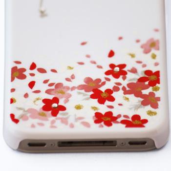 蒔絵for iPhone4/4S専用ケース 白(スワロフスキーブーケ)