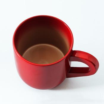 漆コーヒーカップ(朱・白ぼかし)