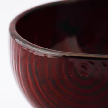 桐ほてい汁椀(赤溜)