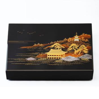 山水蒔絵色紙箱