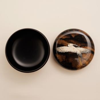 【人間国宝】寺井直次・川北良造合作 黒柿造 平棗 鷺蒔絵