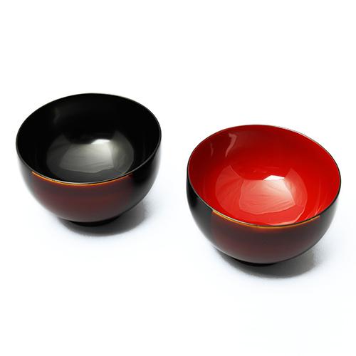 白檀塗日月夫婦椀(木箱入)