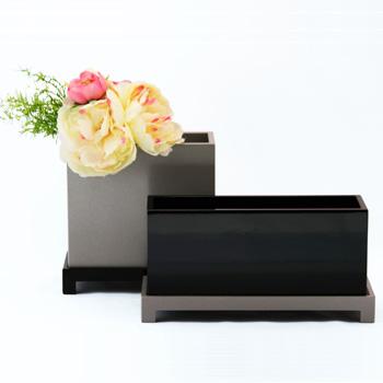 台付花器ロータイプ(黒・シルバー)