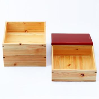 Njeco汎6寸三段重箱(変根来-赤)