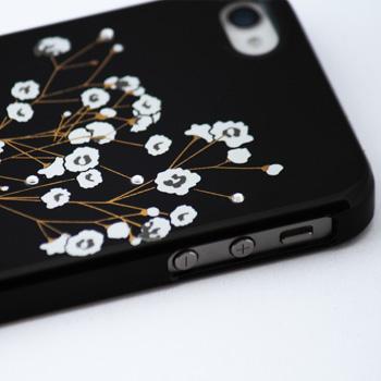 蒔絵for iPhone4/4S専用ケース 黒(スワロフスキーかすみ草)