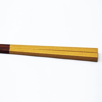 杉拭漆箸半塗り(ゴールド)
