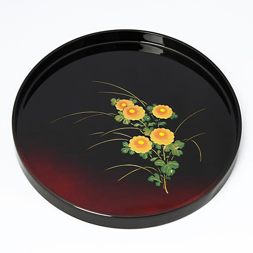 菊蒔絵丸盆