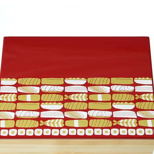 Njeco汎鮨蒔絵二段重箱(赤)