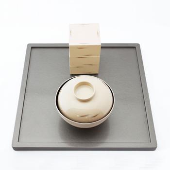 吸物椀4客セット(変根来-白)