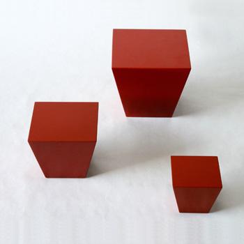 台形ブロック(洗朱)
