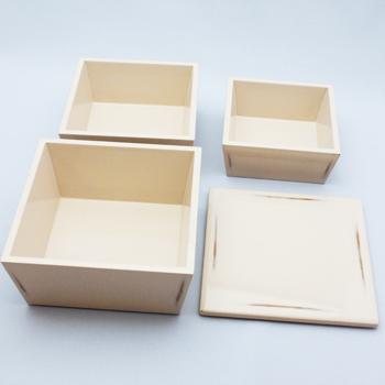 台形入子三段重箱(変根来-白)