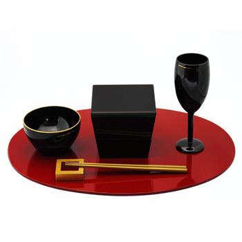台形ミニ入子二段重箱(黒)
