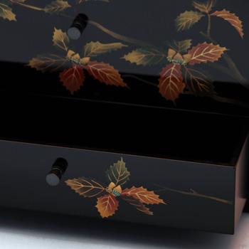 樫蒔絵ティッシュボックス(引出し付)