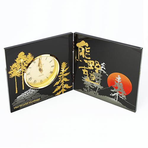 熊野古道蒔絵屏風時計