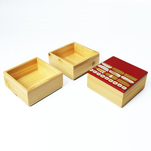 Njeco汎鮨蒔絵ミニ三段重箱(赤)