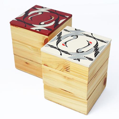 Njeco汎鶴蒔絵ミニ三段重箱(赤)