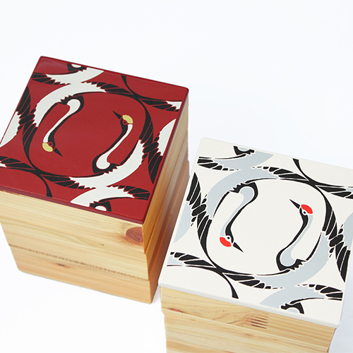 Njeco汎鶴蒔絵ミニ三段重箱(オフホワイト)