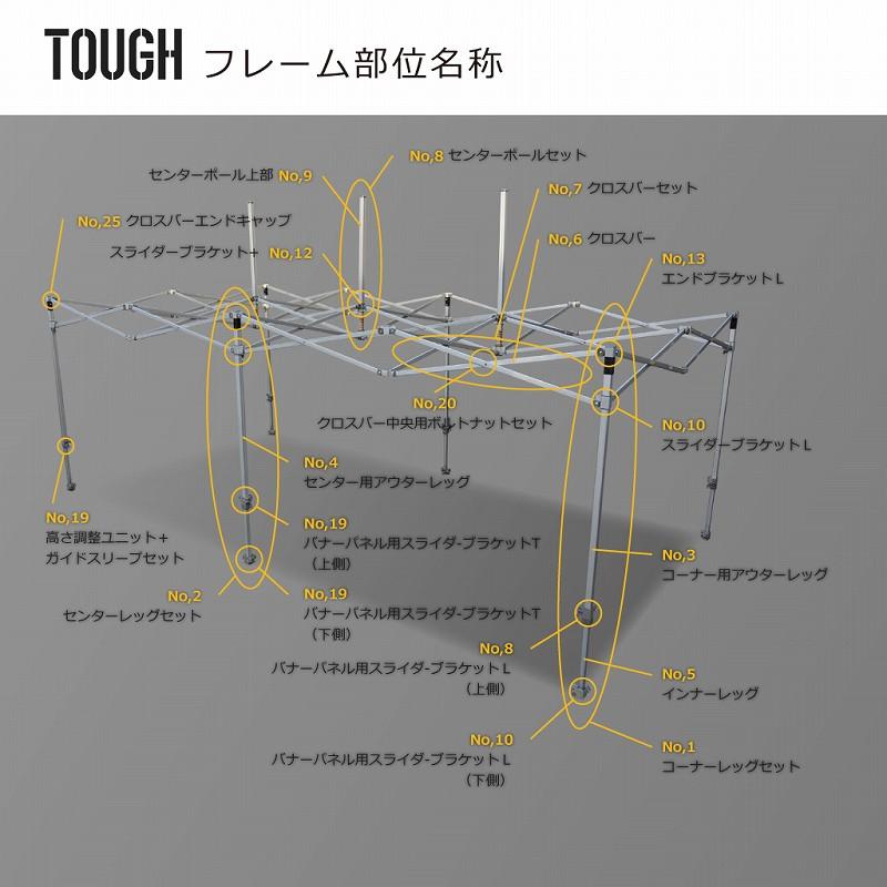 TOUGH用部品No,20:クロスバー中央用ボルトナットセット