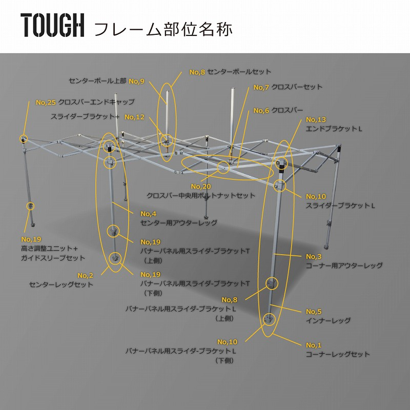 TOUGH用部品No,17:高さ調整ユニット+ガイドスリープセット