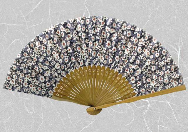 マツヨシ 松祷庵 扇子 和柄 布扇子  婦人扇子 『 フラワー (紺・白花)』 夏 節電 布扇子◆ matsu-8102