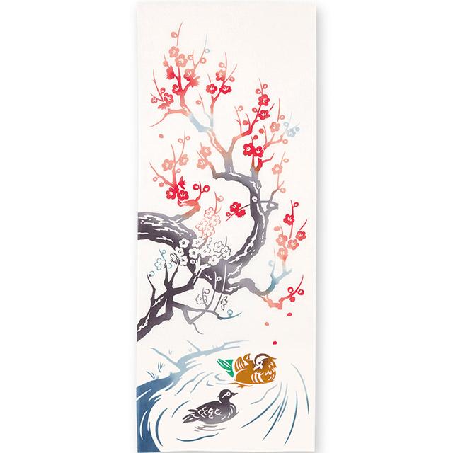 kenema 注染手拭い 『おしどり梅』 秋 花圃 日本製 早春 梅花 紅白梅  [ネコポス配送]kenema-50129