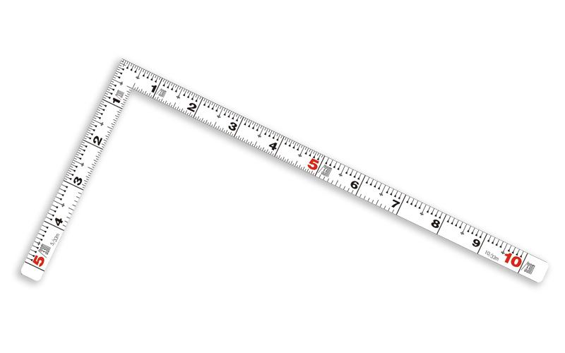 曲尺平ぴた  ホワイト  30�/1尺併用目盛