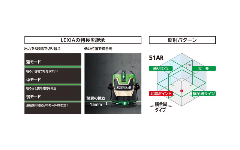 レーザーロボ  LEXIA−E  51AR  グリーン  受光器・三脚セット
