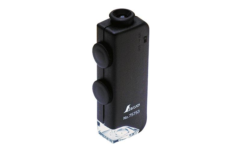 ルーペ  H  ポケット型顕微鏡  60〜100倍  LEDライト付