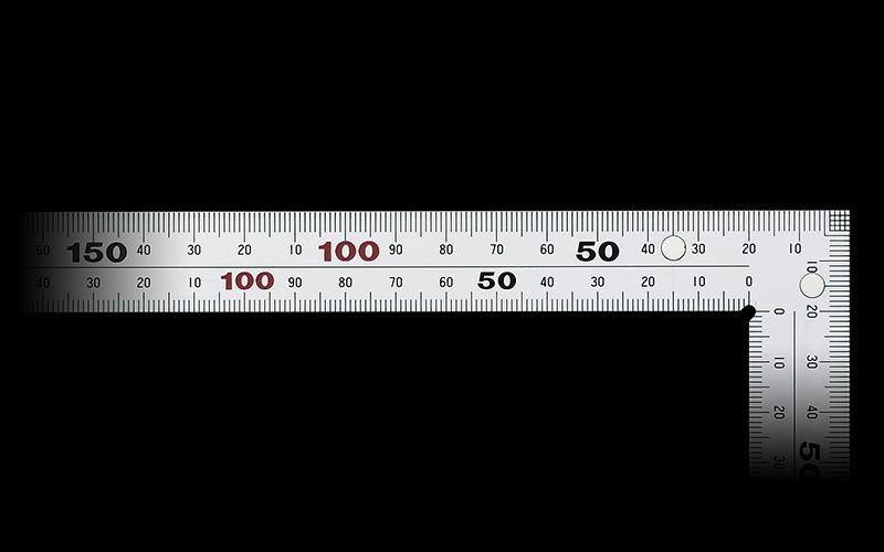 曲尺厚手広巾  シルバー  30�表裏同目8段目盛マグネット付JIS