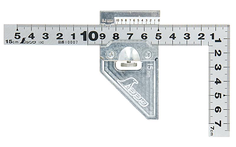 曲尺平ぴた  シルバー  15�  表裏同目  曲尺用ストッパー金属製付