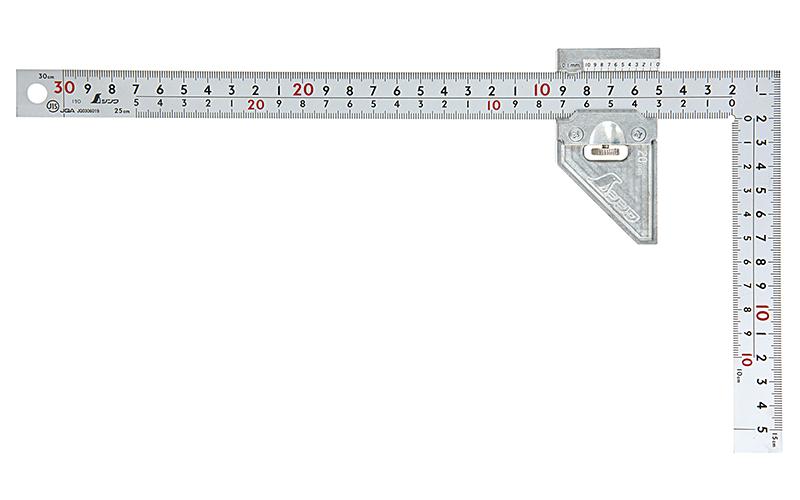 曲尺厚手広巾シルバー30�表裏同目8段曲尺用ストッパー金属製付JIS