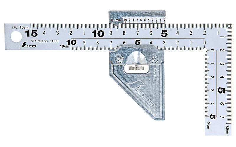 曲尺厚手広巾  シルバー15�表裏同目8段  曲尺用ストッパー金属製付
