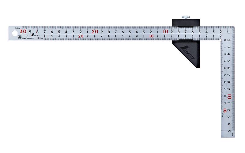曲尺厚手広巾  シルバー30�表裏同目  8段目盛  ストッパー付  JIS