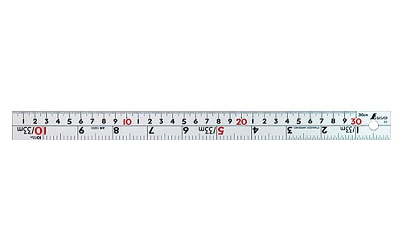 直尺  シルバー  30�  併用目盛  W左基点  �表示赤数字入