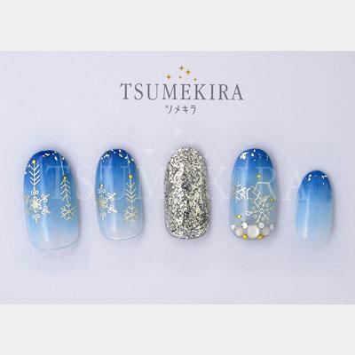 (DM便○)TSUMEKIRA(ツメキラ):ネイルシール 雪の結晶8 ユキノカタチ ホワイトゴールド/SG-YUK-802